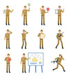 Set of soldiers showing various actions. Military man talking on phone, running, holding stop sign, contract, plan, reading a book and showing other actions. Flat design vector illustration