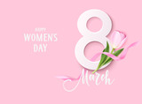 Happy Womens Day. 8March design template. Decorative number with pink ribbon and tulip flowers isolated on pink background. Vector illustration