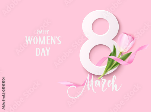 Happy Womens Day. 8March design template. Decorative number with pink ribbon and tulip flowers isolated on pink background. Vector illustration - 245658504