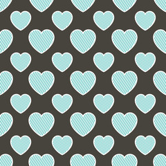 Colorful hearts pattern with geometric shape. Valentines day background