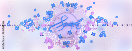 Congratulations on the international women's day on March 8. Panoramic floral background with forget-me-nots and butterflies. 3D illustration - 245663365