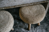 Natural straw weave pillow round chair - 245677366