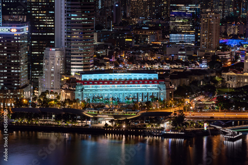 Singapore skyscrapers at night