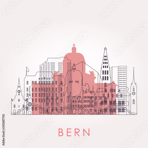 Outline Bern skyline with landmarks. Vector illustration. Business travel and tourism concept with historic buildings. Image for presentation, banner, placard and web site. - 245687743