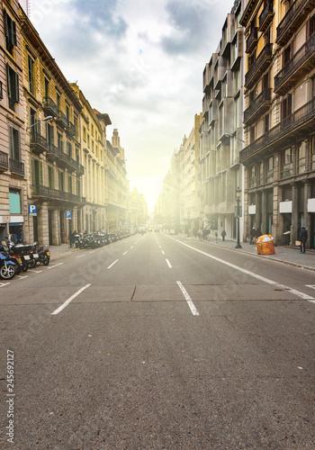 fototapeta na ścianę Empty Barcelona street