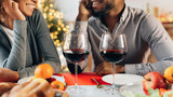 African-american couple enjoying romantic dinner at home