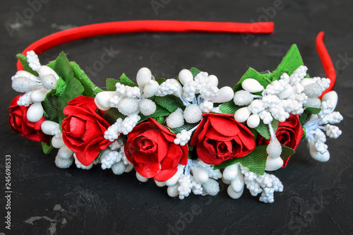 Handmade Wrap With Red And White Flowers Gum Hoop For Hair On A