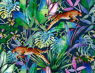 Tropical seamless pattern with tropical flowers, banana leaves and panther, leopard, cougar, wildcat