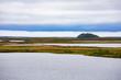 Pingo landmark in tundra at Tuktoyaktuk NWT Canada
