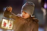 Grl with lantern on snow - 245709759