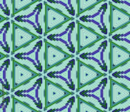 fototapeta na ścianę Seamless triangular pattern from green and blue geometrical abstract ornaments on a light background. Vector illustration. Suitable for fabric, wallpaper and wrapping paper