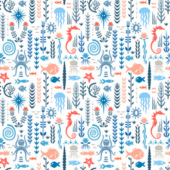 Seamless pattern with underwater plants and animals. Concept for nursery prints, textile, wallpapers. Red and blue palette