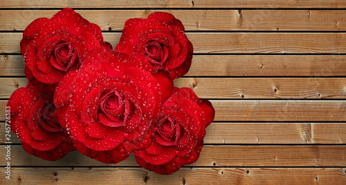 Romantic red rose with water droplets on Wooden background