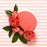 Happy Mother's Day, Women's Day, Valentine's Day or Birthday Living Coral Pantone Color Background. Coral flat lay greeting card with beautiful roses. - 245738377