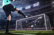 goalkeeper jumping for the ball on football match