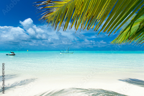 Leinwanddruck Bild tropical Maldives island with white sandy beach and sea