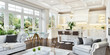 Luxurious white kitchen and living room in a big house