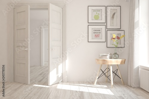White empty room with table. Scandinavian interior design. 3D illustration © AntonSh