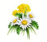 Vector 3d yellow diasy cornflower elegant bouquet