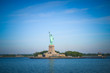 Wide angle view of the Statue of Liberty in New York City as seen from Hudson River Bay