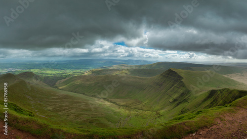 Stunning landscape image of view from Pen-y-Fan towards Cribyn and Corn Du in Brecon Beacons