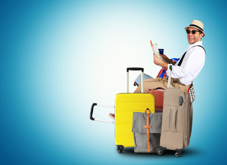 Luggage tourists with big suitcases, travel holiday