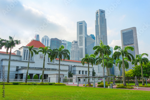 Singapore parliament and modern cityscape
