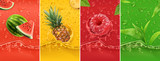 Juicy and fresh fruit. Watermelon, pineapple, raspberry, tea. Dew drops and splash. 3d vector realistic set. High quality 50mb eps