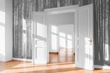 open room door in bright flat with photo wallpaper - - 245815375