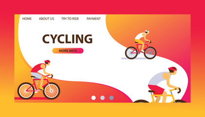 Triathlon track vector illustration. Cycling website design. Cartoon male cyclists riding a bike. Road cycling, cycling tour. Payment. Try to ride. More information. Healthy.