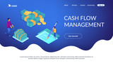 Financial analyst with computer and pen calculating cash flow statement. Cash flow statement, cash flow management, financial plan concept. Isometric 3D website app landing web page template - 245833191