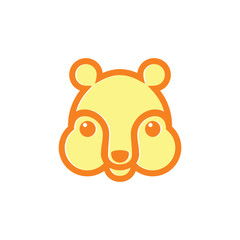 cute kid bear face line design symbol vector