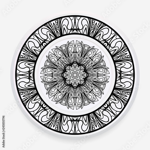 Decorative round plate with mandala from floral elements. Vector illustration. Home decor, interior design