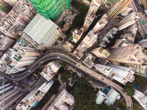 fototapeta na ścianę Aerial view of Hong Kong dense Kennedy town district