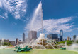 Chicago skyline and Buckingham fountain at summer sunny day, Chicago, Illinois, USA.