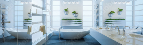 Leinwandbild Motiv Contemporary Bathroom Adaptation - Panoramic View