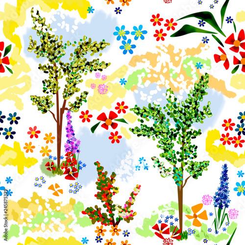 Seamless cartoon cute flowers floral plants trees pattern - 245875329
