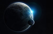 Distant planet system in space with exoplanets 3D rendering elements of this image furnished by NASA