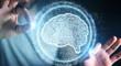 Leinwandbild Motiv Businessman using digital artificial intelligence icon hologram 3D rendering