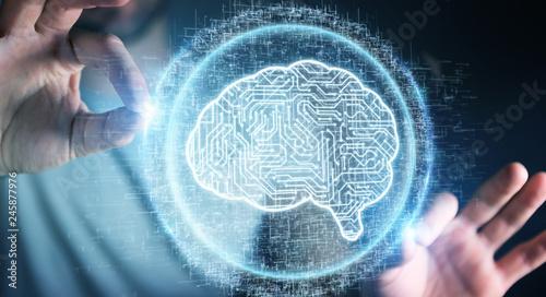 Leinwanddruck Bild Businessman using digital artificial intelligence icon hologram 3D rendering