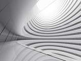 Abstract of white circle space ,Perspective of future architecture building.Futuristic idea design, 3D rendering.
