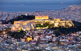 Athens skyline panorama with Acropolis in Greece from peak Lycabettus at night - 245879179