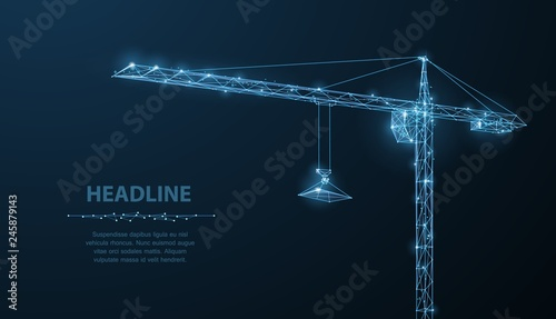 Crune. Abstract vector wireframe crune on dark blue background - 245879143