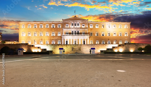 Building of Greek parliament in Syntagma square, Athens, Greece