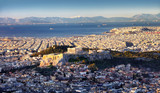 Panoramic view of Athens city from Lycabettus hill at sunrise To Acropolis, Greece - 245879303