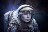 close up portrait of young astronaut completed space mission b. Elements of this image furnished by nasa - 245881382