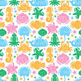 Sea animals vector seamless pattern text lettering. Ocean shape fish,octopus,crab,turtle,starfish,seahorse,jellfish,stingray,shell,whale.
