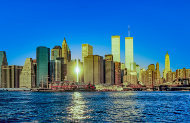 twin towers in New York in sunset