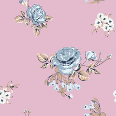 floral background with blue roses flowers on pink © tanyalmera