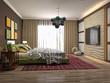 Bedroom interior. 3d illustration - 245899106